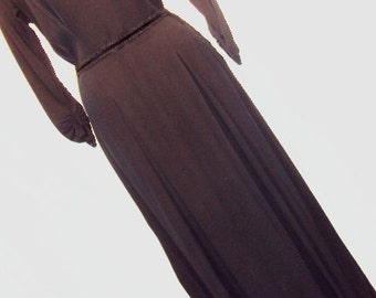 Free Shipping-Vintage 1940's Very Special Black Evening Gown