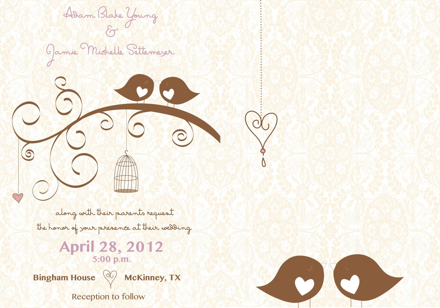Bird Wedding Invitation: Chandeliers & Pendant Lights