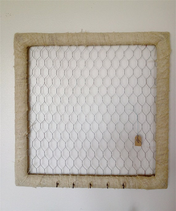 Burlap covered Chicken Wire Frame, Hair bow and hair clip orgainizer, memo board, photo board, jewelry holder
