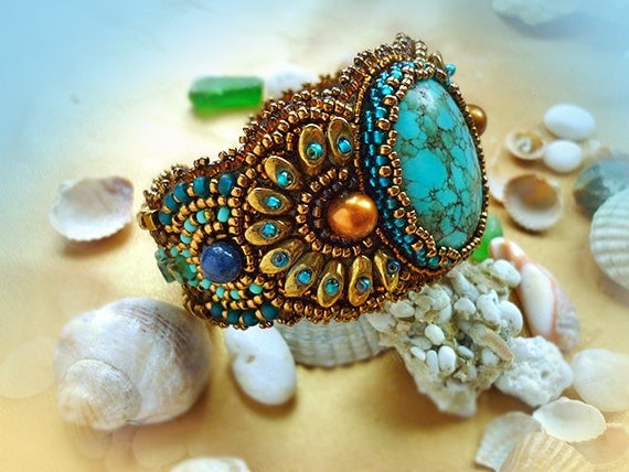 Relax bracelet bead embroidery art with turquoise by elennoel