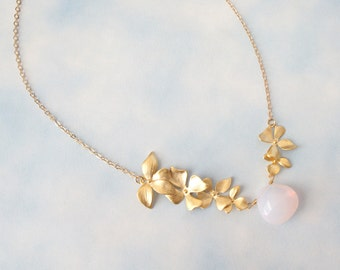 Pink Opal and Gold Triple Orchid Necklace, Bridesmaid Gift, Mom Gift