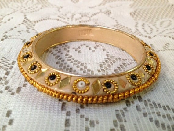 CLEARANCE Vintage Ornate Enameled and Beaded Bracelet from India