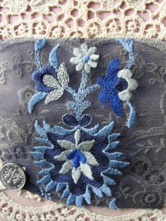 vintage french art deco embroidered applique trim silver blue. Black Bedroom Furniture Sets. Home Design Ideas