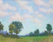 """Original Pastel Landscape Painting - """"Summer Sky"""" by Colette Savage, summer sunshine scenery blue sky puffy clouds"""