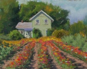 "Original Pastel Landscape Painting - ""Sunflowers and Zinnias"" by Colette Savage"