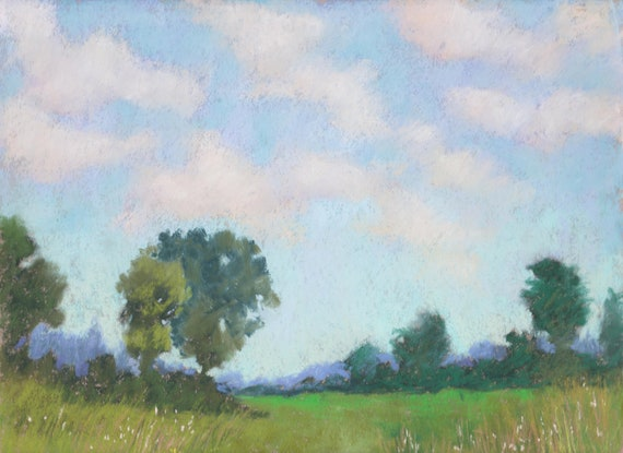 "Original Pastel Landscape Painting - ""Summer Sky"" by Colette Savage, summer sunshine scenery blue sky puffy clouds"