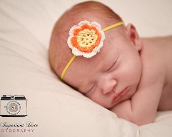 Crochet Flower Elastic Headband