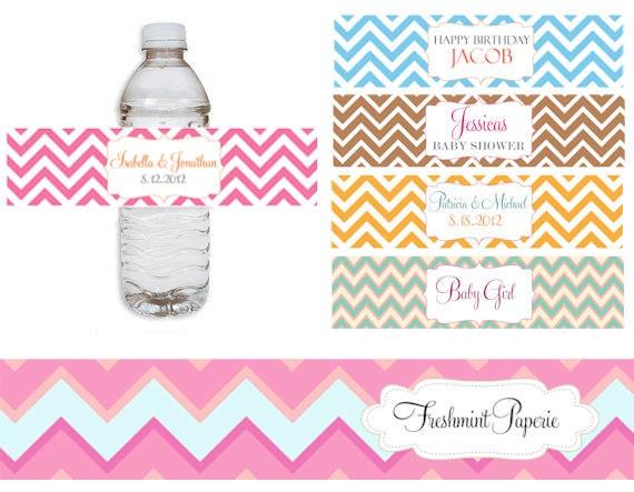 Printable water bottle labels Chevron water por FreshmintPaperie