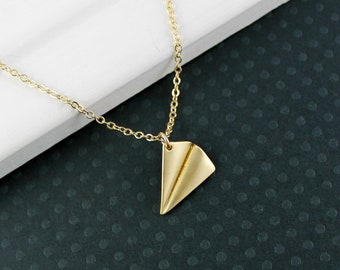 Paper Airplane Necklace - Gold Paper Airplane Necklace, Harry Styles Airplane Necklace, 1D Necklace, Gold Filled Chain