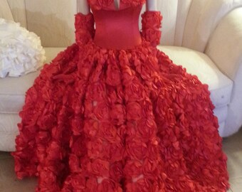 Scarlet Rose Goddess Middle Eastern Inspired Bridal Wedding Formal Ball Gown With Rose Straps