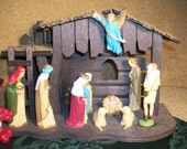Mid-Century Traditional Nativity Set, Wood Stable, Ten Hand Painted Plastic Figures, Christian Christmas Home Decor