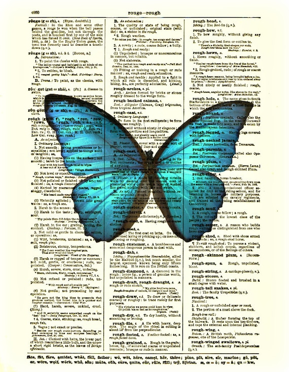 Blue Butterfly Art Print Dictionary Page By ReImaginationPrints