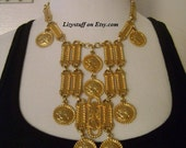 RESERVED Partial Exchange Accessocraft NYC Signed Gold Tone Dangling Faux Napoleon Emperor Coin Queen of The Runway Couture Festoon Necklace