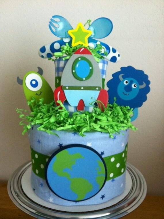 Green And Blue Space Alien Amp Rocket Ship Mini Diaper Cake