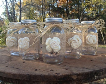 Set of 5 - Shabby Chic Rustic Mason Jars with Sola Flower - Rustic Wedding Decor - Wedding Mason Jars - Mason Jar Centerpieces