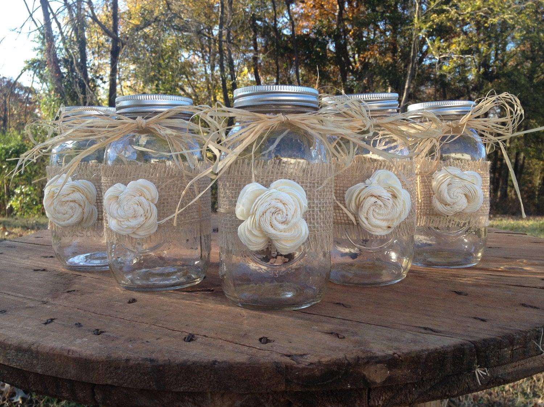 Set of shabby chic rustic mason jars with sola flower