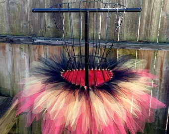 Olivia Tutu - Black, Yellow and Coral - Rave Tutu - Available in Infant, Toddlers, Girls, Teenager and Adult Sizes