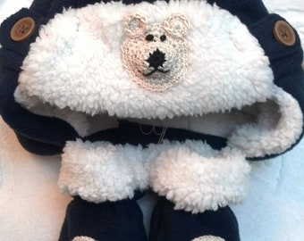 Boys Baby Infant Fleece Bomber Hat and Mitten Set  - Handmade Bear - Navy Blue & White or TAN (last picture) - Sizes 0-6, 6-12, 12-18 months