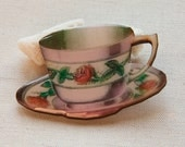 Cottage Chic TeaCup Retro Large Brooch Wood Handmade English Roses