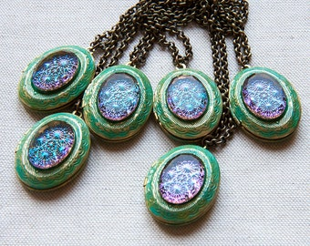 Crystal Mystical Vintage Intaglio Cab Verdigris Petite Locket Pendant Necklace