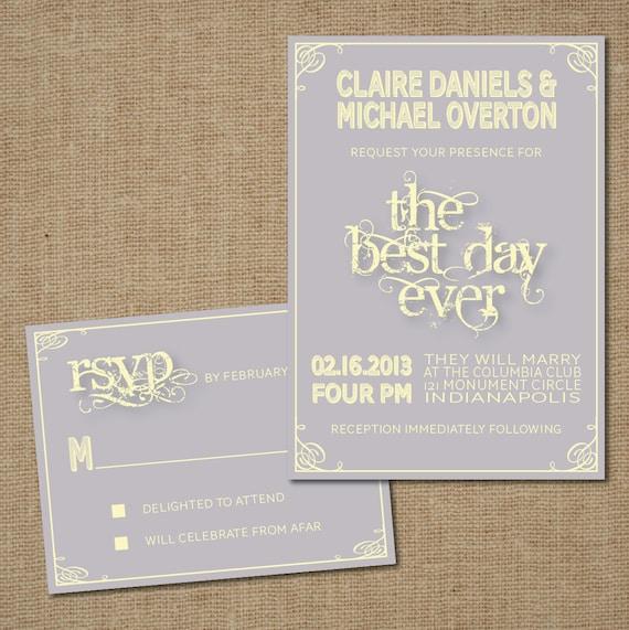 "Print It Yourself Wedding Invitations: Items Similar To Wedding Invitation Set: ""Best Day Ever"