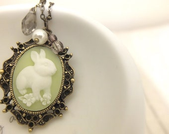Bunny Necklace, Rabbit Necklace, Apple Green Necklace, Cameo Necklace , Cabochon Necklace, Bunny Charm Necklace, Bunny Jewelry, Bunny Rabbit
