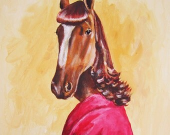 Illustration Print Art Poster Acrylic Painting Kids Decor Drawing Gift : Lady Horse