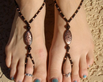 Copper and Black Barefoot Sandals, Slave Anklet, foot jewelry, ankle bracelet with toe ring
