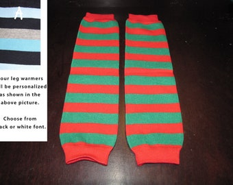 CHRISTMAS STRIPES baby leg warmers.  Great for babies, toddlers, and young kids