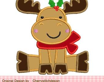 "Christmas Reindeer Machine Embroidery Applique Design-4x4 5x5 6x6"""
