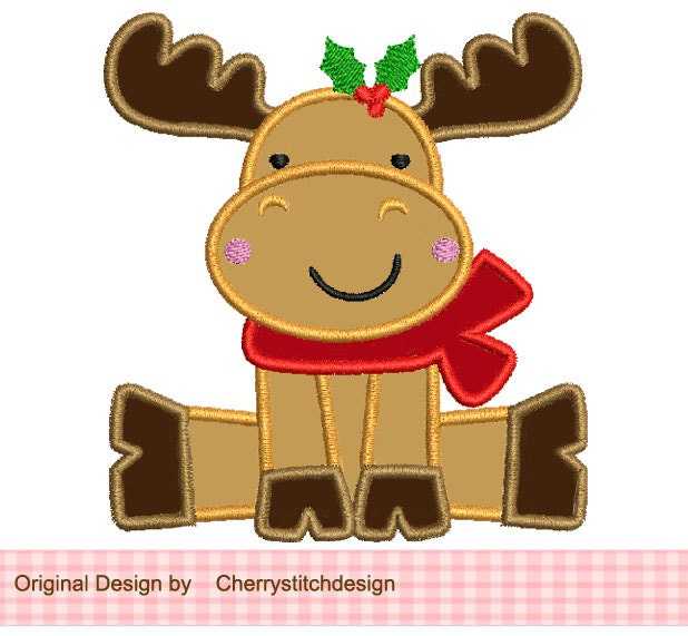 Girl Reindeer Applique Christmas Reindeer Applique