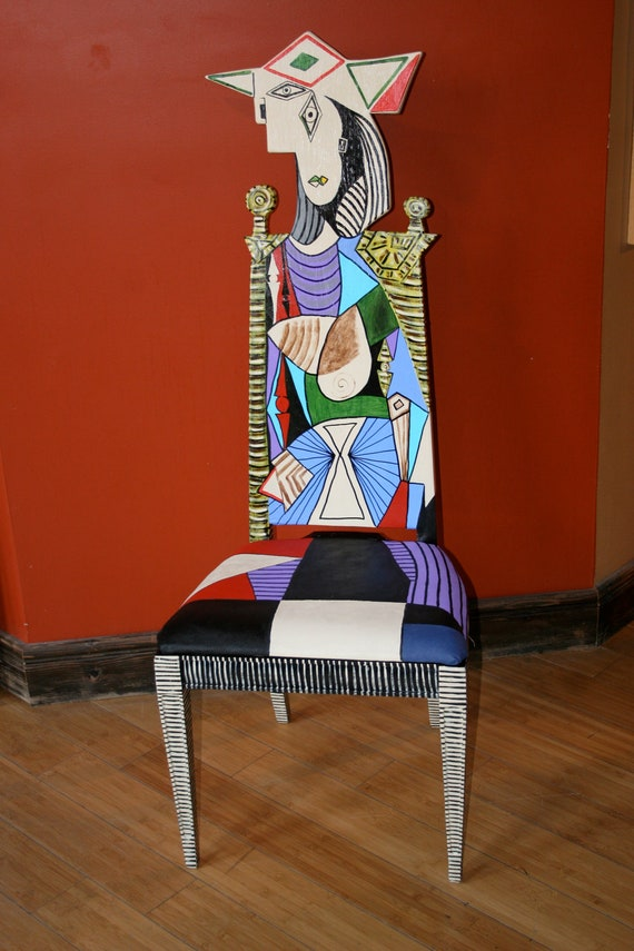 Reupholstered chair - Picasso Femme Au Jardin Upcycled Chair Painted By By Fendosart