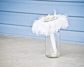 Fabric Bouquet - Feather Wedding bouquet, Vintage, Flower Bouquet, Neutral Colors, White / Ivory , Cream Colored Flower