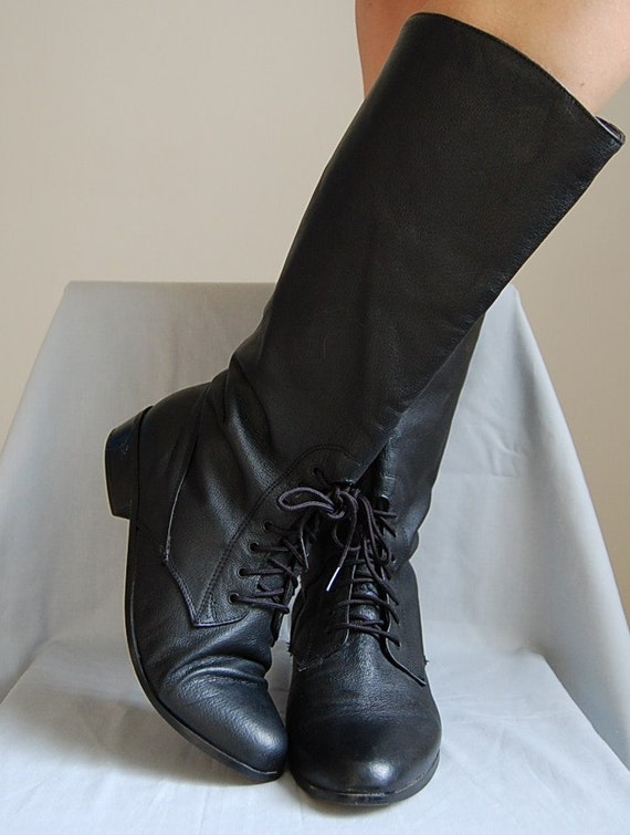 the front laces black leather pirate boots vintage