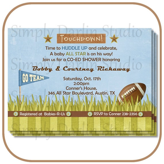 digital football baby shower invitation boy sports you print
