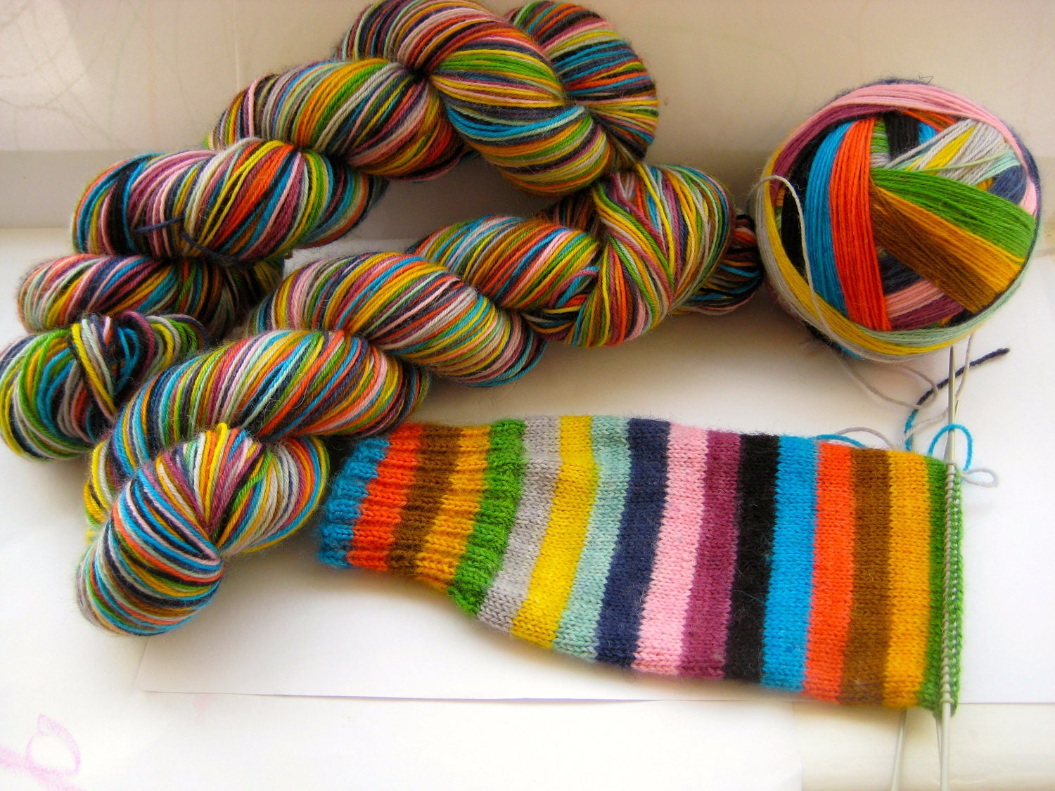 Mind The Gap self striping sock yarn by TrailingClouds on Etsy