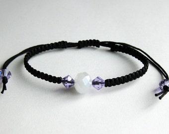 Black Macrame Bracelet with a Single White Alabaster Crystal and Violet Swarovski Crystals