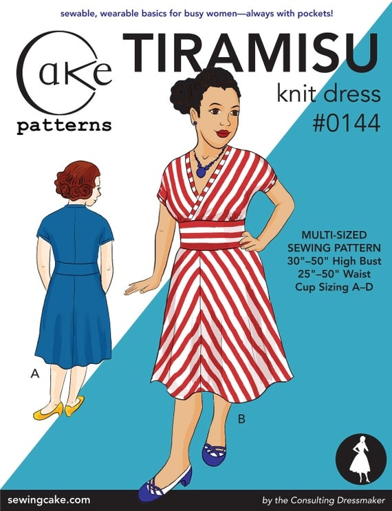 "Tiramisu Knit Dress from Cake Patterns- Multi-Size 30""-50"" high bust, 25""-50"" waist"