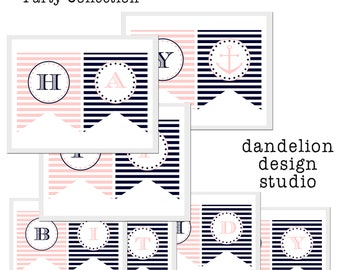 PRINTABLE Happy Birthday Banner - Pink & Navy Nautical Party Collection - Dandelion Design Studio