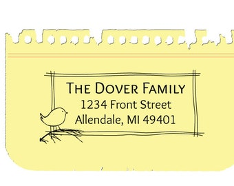 Custom Address Rubber Stamp, Personalized Nature Family Stamp, Allendale