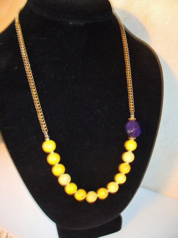 Necklace with Yellow Stone and Purple Beads, Handmade