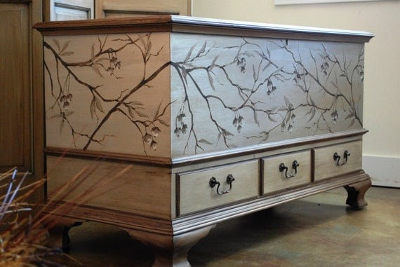 A Graphic Light Box And A Mid Century Dresser Turning The: Vintage Hand Painted Cedar Hope Chest Blanket Chest By
