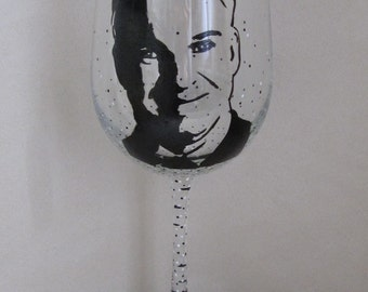 Hand Painted Wine Glass - STEVE MARTIN, Comedian, Actor