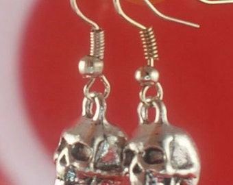 3D Skull Earrings Silver Skull Earrings Anatomical NY