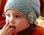 Hand knitted toddler reversible slouchy hat, girl's beanie
