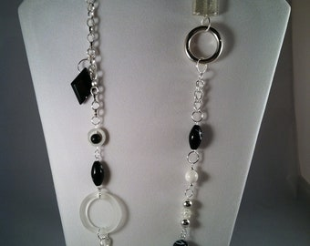 Extra long beaded necklace in black and silver - Gift for Her - Silver - Black - Affordable Jewelry - Extra long necklace