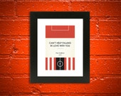 "Book Clubs: ""Sunderland"" A4 Football Print in red, black and white."