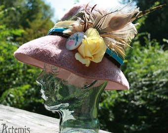 BIRDS OF a FEATHER - Handembelished, Pink Vintage Hat with Vintage Bird Broach and a Yellow Rose