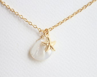 Gold Starfish with Shell Everyday 18K gold Necklace with free gift box, solitaire minimalist simple delicate tiny