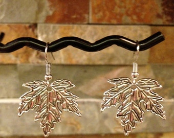 Antiqued Silver Small Maple Leaf Earrings